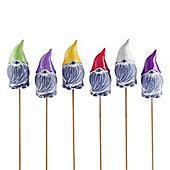 Set of Six Unusual Coloured Terracotta Garden Gnome Ornaments on Sticks