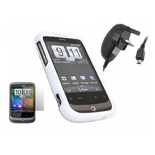 iTALKonline White SnapGuard Case, LCD Screen Protector and Mains Charger - For  HTC Wildfire