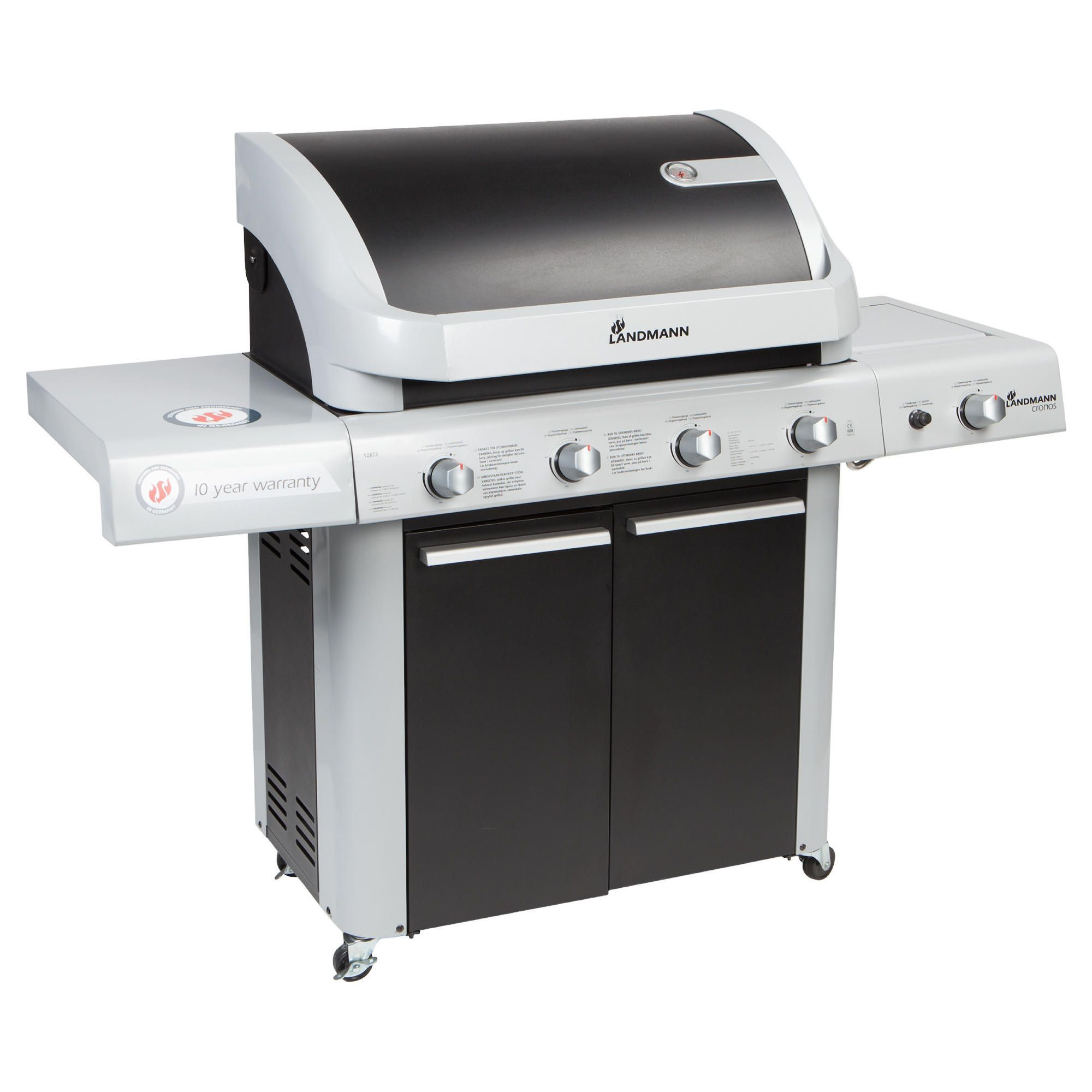 Landmann Cronos Black 4 burner + side burner and cabinet BBQ at Tesco Direct