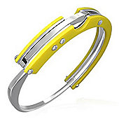 Urban Male Yellow Resin and Stainless Steel Modern Handcuff Bangle For Men