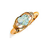 QP Jewellers Diamond & Aquamarine Halo Heart Ring in 14K Gold