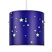 Stars Ceiling Light Pendant Drum Shade in Blue & White