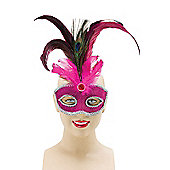 Pink Eyemask With Tall Peacock Feather