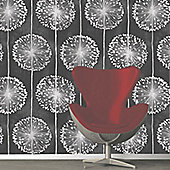 Muriva Dandelion Wallpaper - Black