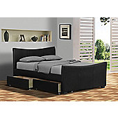 "Turin Stylish Designer Black 5ft Kingsize Bed Frame with 8"" Deluxe Foam Mattress"