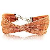 Jewelco London Sterling Silver - Rose Galvanised Mesh Wristpiece - Bangle - Ladies