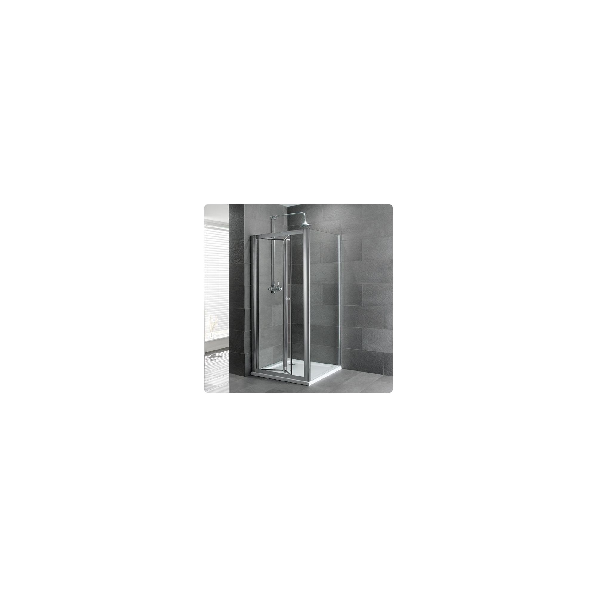 Duchy Select Silver Bi-Fold Door Shower Enclosure, 1000mm x 800mm, Standard Tray, 6mm Glass at Tesco Direct