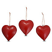 Red Metal Hanging Rustic Heart Christmas Ornament Set of Three