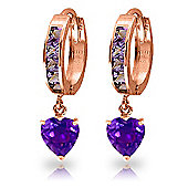 QP Jewellers 4.10ct Amethyst Heart Huggie Earrings in 14K Rose Gold