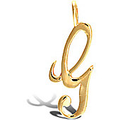Jewelco London 9ct Gold Script Initial ID Personal Pendant, Letter G -1.4g