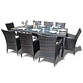 Bermuda Outdoor Brown Rattan Garden Dining Set - Seats 8