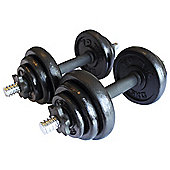 York Fitness 20kg Black Cast Iron Dumbbell Set