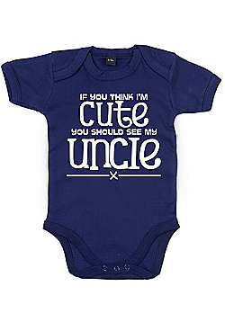 Dirty Fingers If you think I'm cute see my uncle Bodysuit - Navy