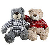 Set of 2 Large 45cm Plush Cuddly Christmas Teddy Bear Toys in Festive Jumpers