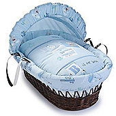 Clair de Lune Ahoy Wicker Moses Basket (Dark)