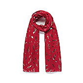 Red Feather Foil Print Long Scarf