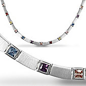 Jewelco London Rhodium Coated Sterling Silver Cubic Zirconia Coloured collarette Tennis Chain - Ladies