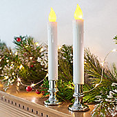 Pair of Battery LED Taper Candles with Silver Bases