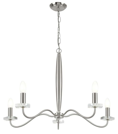Endon Lighting Five Light Chandelier in Satin Nickel