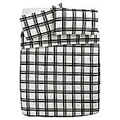 Tesco Check Print Duvet Cover And Pillowcase Set, Black/Grey, Single
