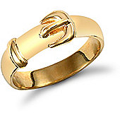Jewelco London 9ct Solid Gold polished Buckle design Ring