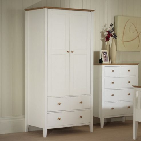 Serene Furnishings Grace 2 Door Wardrobe - Golden Cherry with Opal White
