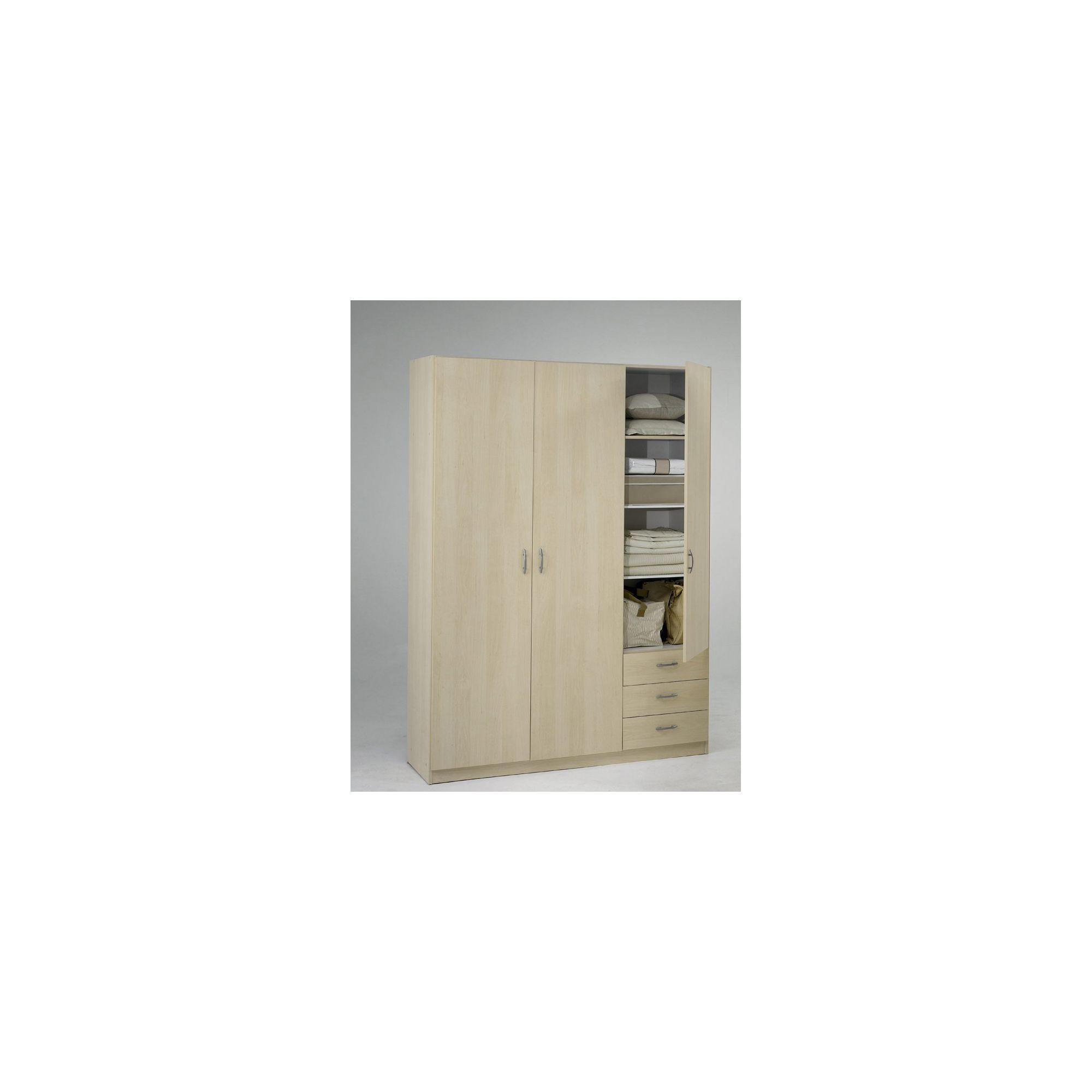 Tvilum Focus Three Drawer Wardrobe - Light Maple at Tesco Direct