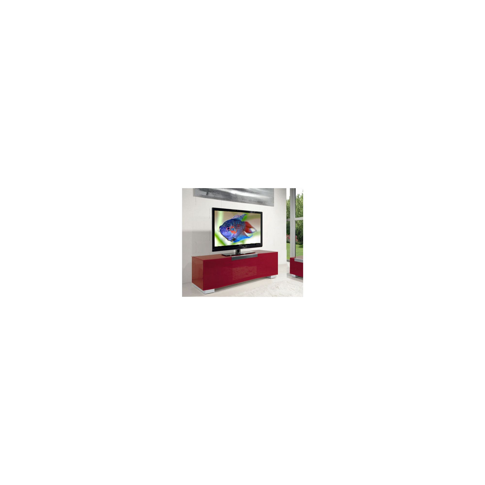 Triskom Stainless Steel / Glass TV Stand for LCD / Plasmas - Red Glass at Tescos Direct
