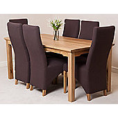 Aspen Solid Oak 150 cm Dining Table with 6 Lola Fabric chairs (Brown)