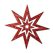 Red Glitter Star Hanging Christmas Decoration