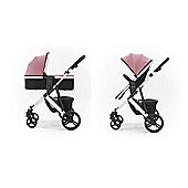 Tutti Bambini Riviera Plus 3 in 1 Silver Pram & Pushchair - Dusty Pink / Cool Grey