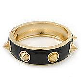 Black Enamel Spike Hinged Bangle Bracelet In Gold Plating - 19cm Length