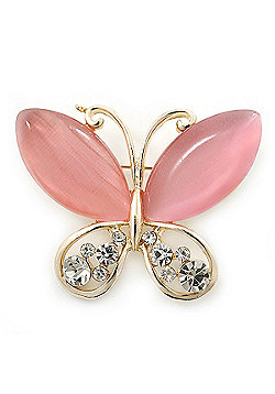 Pink Cat's Eye Stone/ Diamante Butterfly Brooch In Gold Plating - 40mm Width
