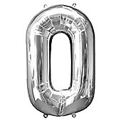 """Silver Number 0 Balloon - 34"""" Foil"""