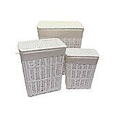 Set of 3 White Rectangular Split Willow Wicker Laundry Baskets