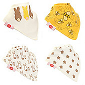 Zippy Boxed Gift Set of 4 Fun Bandana Dribble Bibs - Stylish Cream
