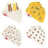 Zippy Boxed Gift Set of 4 Fun Bandana Dribble Bibs - Stylish Cream