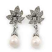 Bridal, Prom, Wedding Austrian Crystal, White Glass Pearl 'Flower' Drop Earrings In Rhodium Plating - 50mm Length