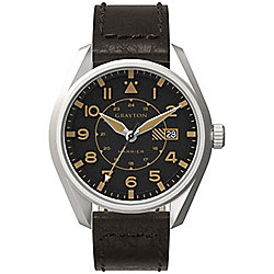 Grayton Harrier Mens Leather 24 hour Date Watch GR-0014-005.4