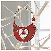 Wooded Scandi Bird Red Hanging Dec