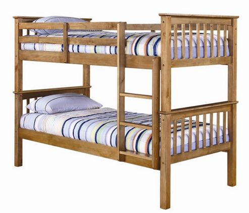 Home Zone Leo Bunk Bed - Antique Waxed Pine
