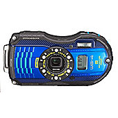 "Ricoh Optio WG-4 Digital Camera, Blue, 16 MP, 4x Optical Zoom, 3"" LCD Screen, Waterproof, GPS"