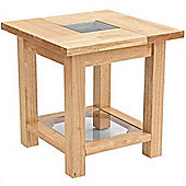 Solid Wood And Glass Square Side / End Table - Natural