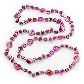 Long Fuchsia Shell, Glass Nugget With Silver Bead Necklace - 110cm Length