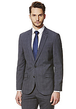 F&F Air Force Blue Checked Tailored Fit Suit Jacket - Airforce blue