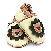 Dotty Fish Soft Leather Baby Shoe - Cream and Brown Lion - 6-12 mths