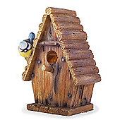 Wall or Tree Mountable Detailed Resin Log Cabin Garden Bird House