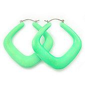 Large Matte Acrylic Square Doorknocker Hoop Earrings in Neon Green - 6cm Diameter