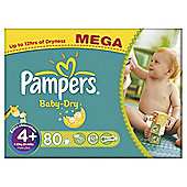 Pampers Baby Dry Size 4+ Mega Pack - 80 nappies