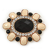 Huge Vintage Black/Cream Acrylic Diamante Oval Brooch In Gold Plating - 10cm Length